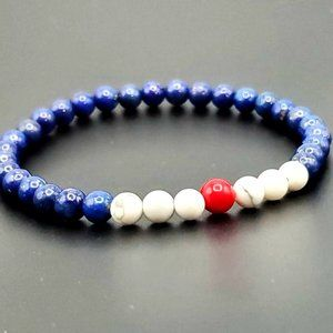 Jewelry - Lapis Lazuli, Howlite and Red Coral beaded bracele